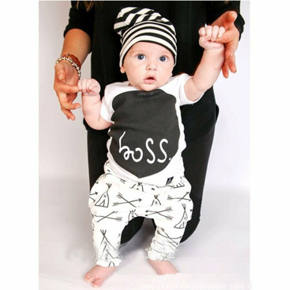 Newborn Infant Toddler Baby Boys Outfit Clothes T-shirt Tops+Long ...