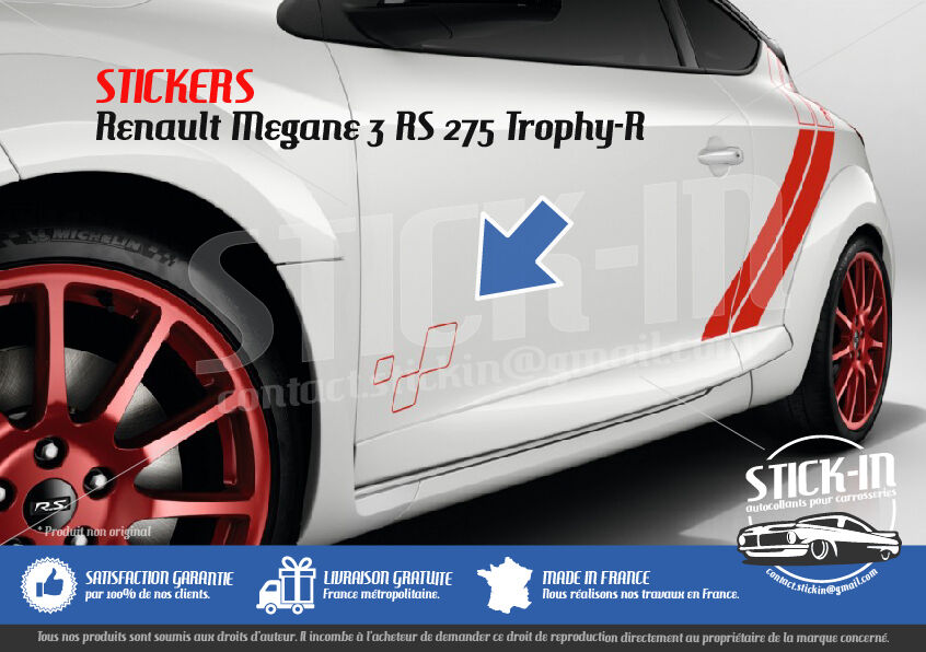 Renault megane 3 rs trophy r 275 stickers autocollants for Autocollant mural