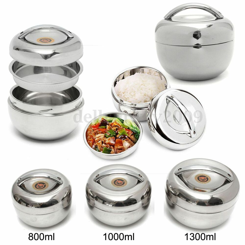 2 layer tier stainless steel thermal insulated stackable lunch box bento food ebay. Black Bedroom Furniture Sets. Home Design Ideas