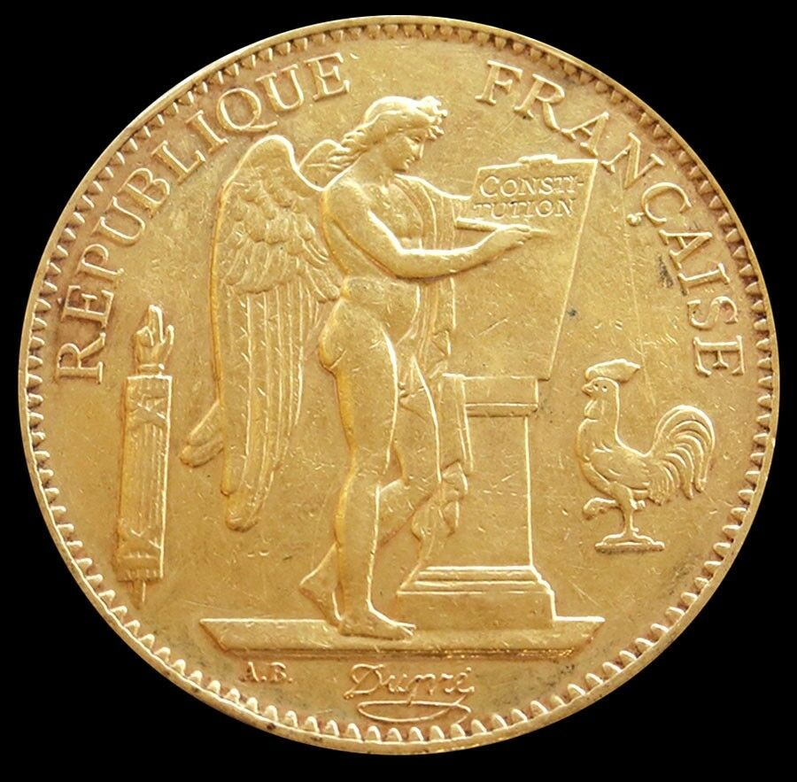1901 gold france 100 francs standing genius coin about. Black Bedroom Furniture Sets. Home Design Ideas