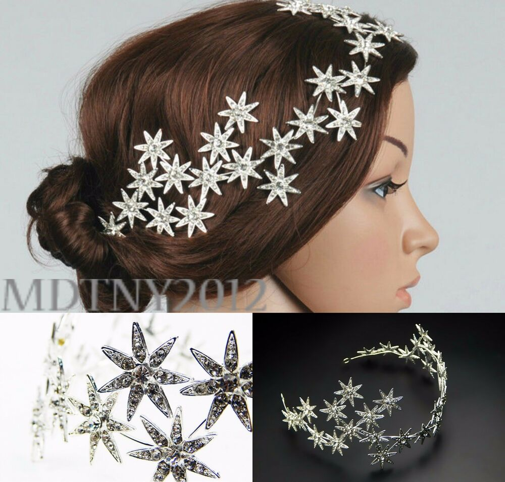 Wedding Hairstyles With Hair Jewelry: Jewelry Crystal Stars Chain Headband Wedding Prom Crown