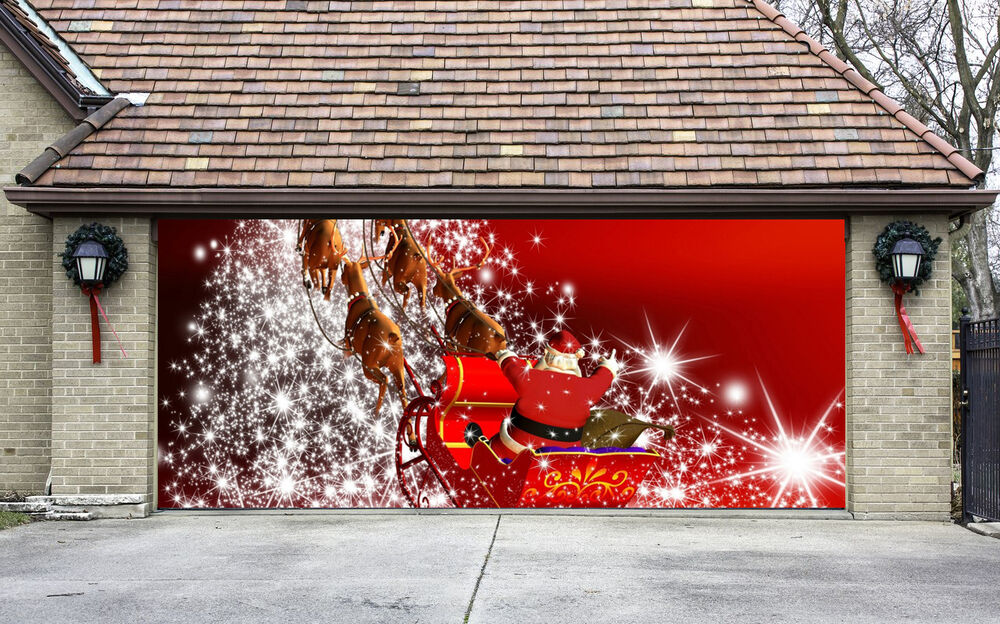 Christmas Garage Door Covers 3D Banners Outside House  ~ 042629_Christmas Decorating Ideas For Garage Doors