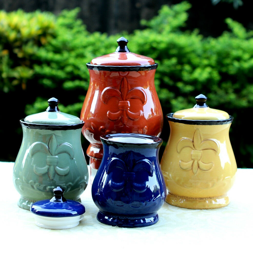 decorative kitchen canister sets country kitchen canister set tuscan decorative red green blue yellow food storag ebay 1189
