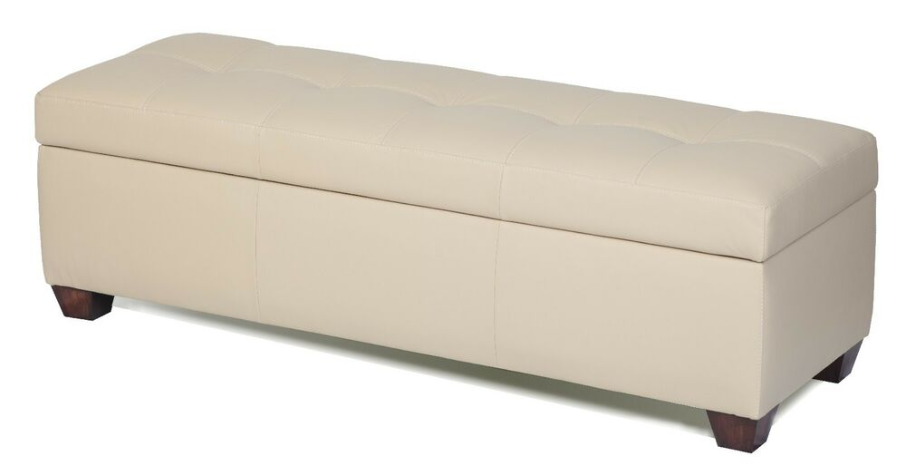 King Size Storage Bench In Bone Genuine Leather Tufted Ottoman Bed Chest Ebay