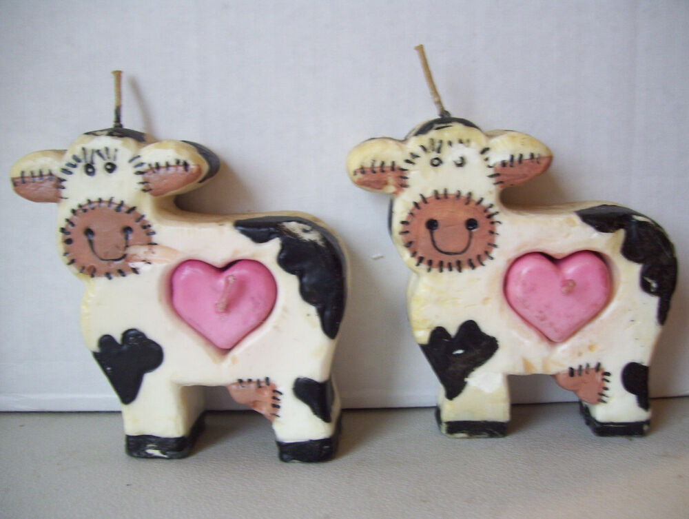 Set Of 2 Black White & Pink Sculpted Wax Candle Cow Shape
