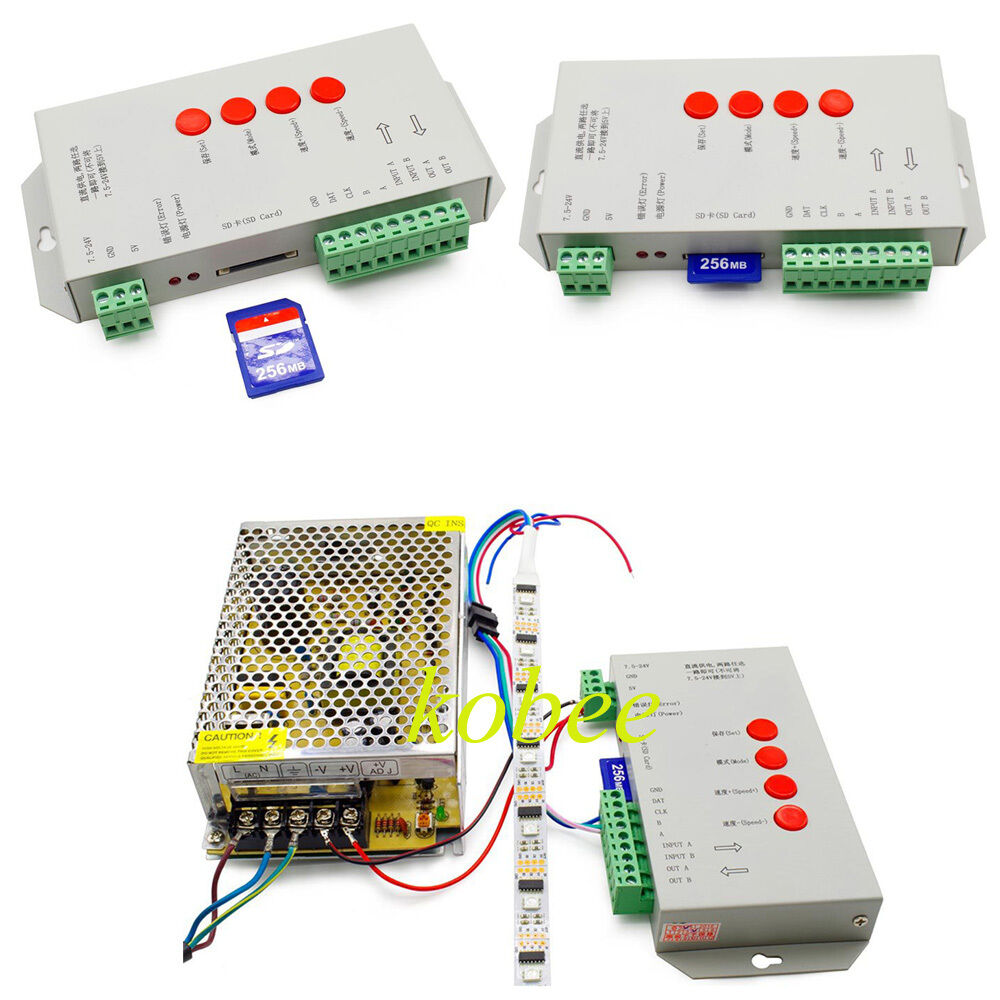 T1000s Sd Card Led Pixel Controller For Ws2812b Lpd8806 6803 Ws2811 The Strips In My Device Use Ws2801 Uses A Ebay
