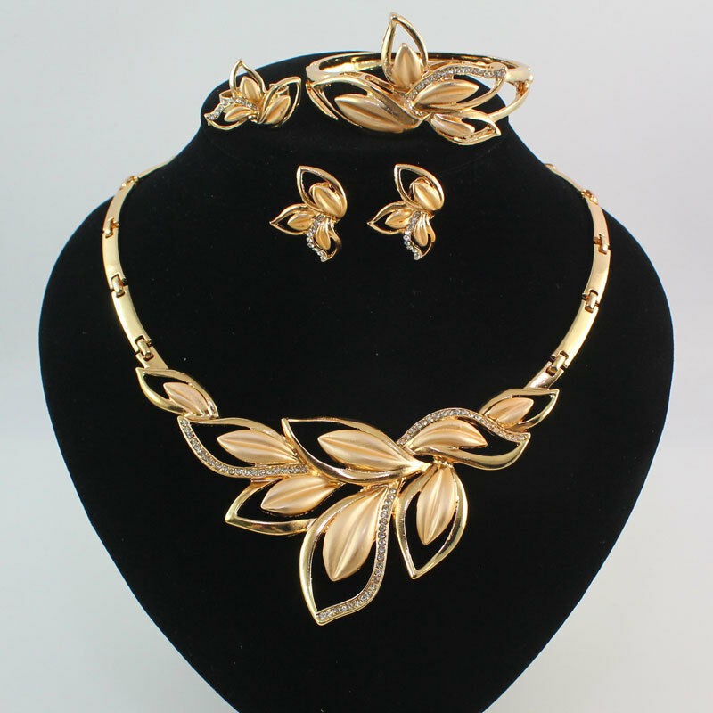 Fashion women 18k gold plated crystal leaves necklace for Is gold plated jewelry worth anything