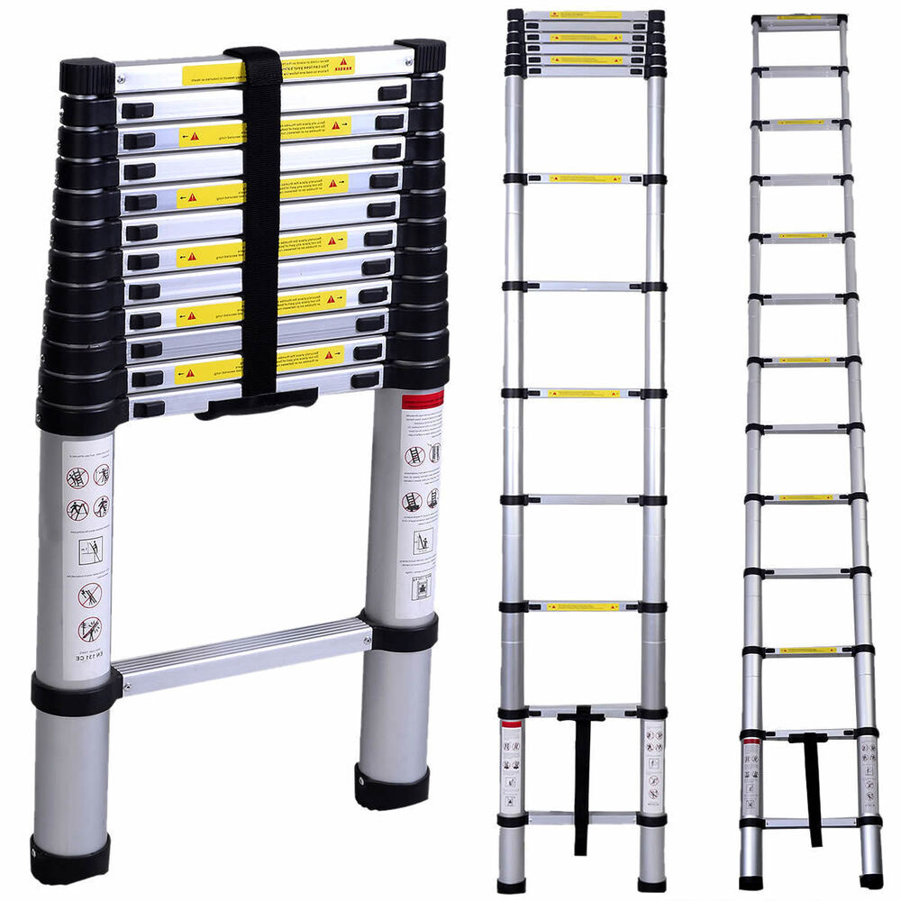 12 5 Extension Telescoping Aluminum Ladder : En ft aluminum telescoping telescopic extension