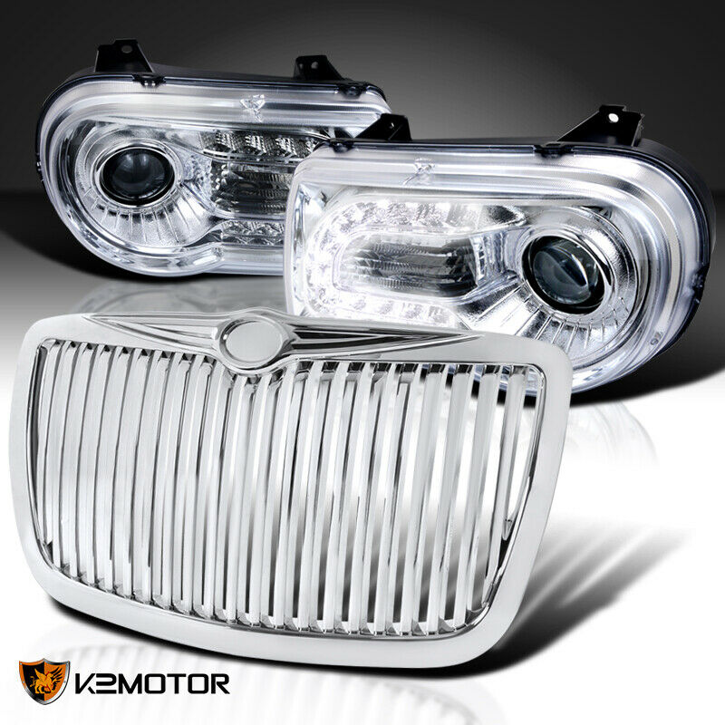 05 10 chrysler 300c chrome led projector headlights chrome. Black Bedroom Furniture Sets. Home Design Ideas
