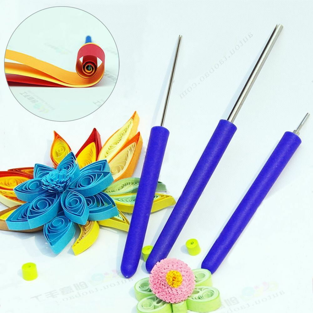 3pcs set paper quilled creations quilling needle slotted tools diy handcraft new ebay. Black Bedroom Furniture Sets. Home Design Ideas