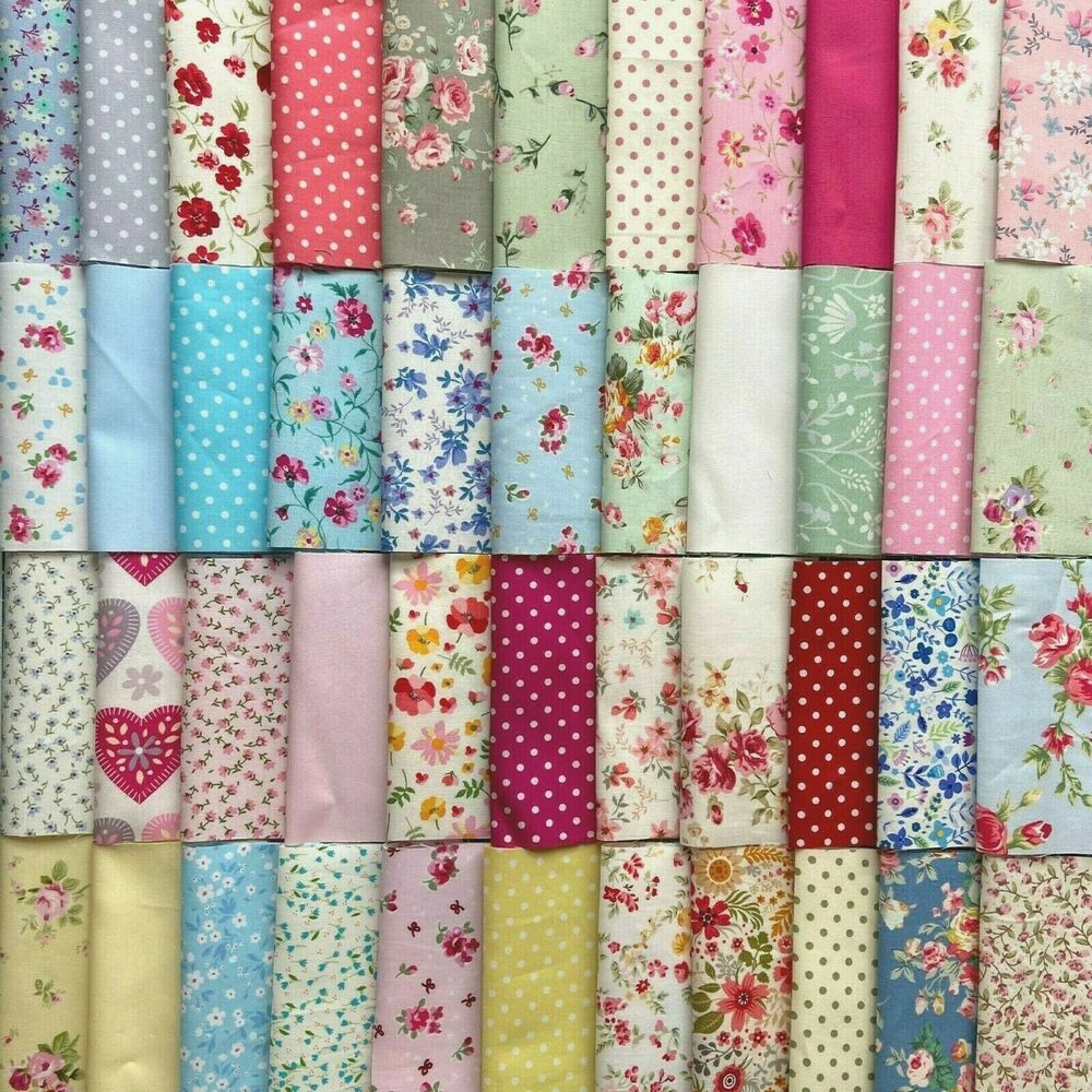 50 or 100 patchwork quilting fabric squares inc cath for Cotton quilting fabric