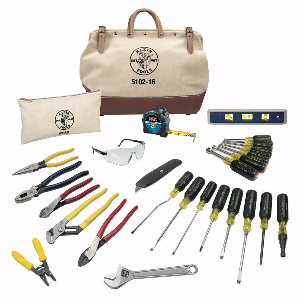 klein tools 80028 28 piece student electrician 39 s tool set with canvas bags new ebay. Black Bedroom Furniture Sets. Home Design Ideas