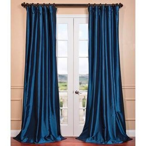 Exclusive Fabrics Azul Faux Silk Taffeta Pole Top Curtain Panel | eBay