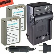 2 Pack of BLN1 Batteries & Battery Charger For Olympus OM-D E-M1 E-M5 E-P5