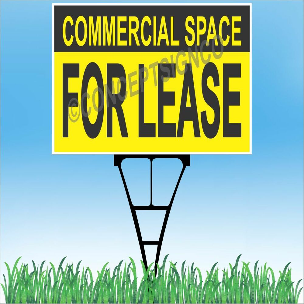 """Landscape Commercial Sign: 18""""x24"""" COMMERCIAL SPACE FOR LEASE Outdoor Yard Sign & Stake Lawn Real Estate"""