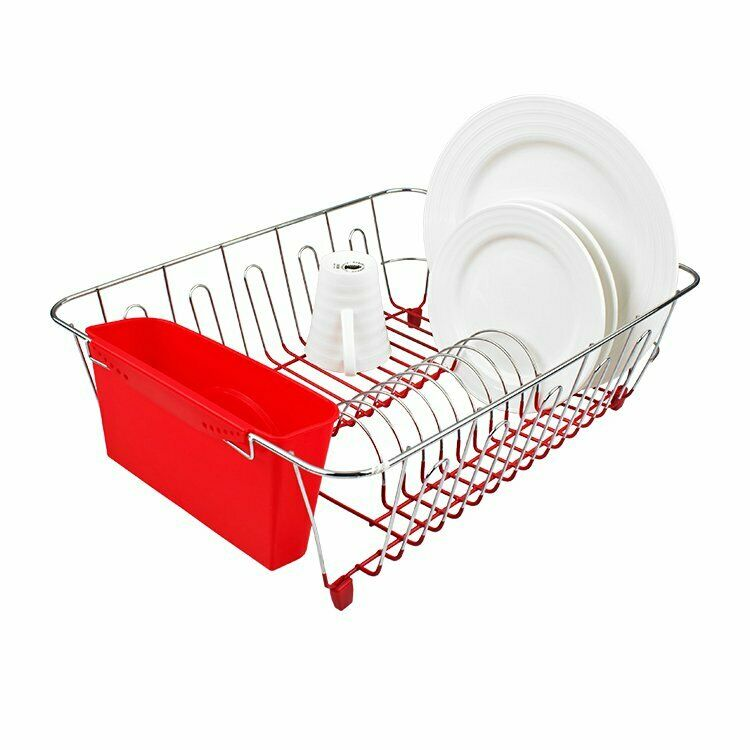 New D Line Dish Drainer Chrome Amp Pvc With Caddy Large Red