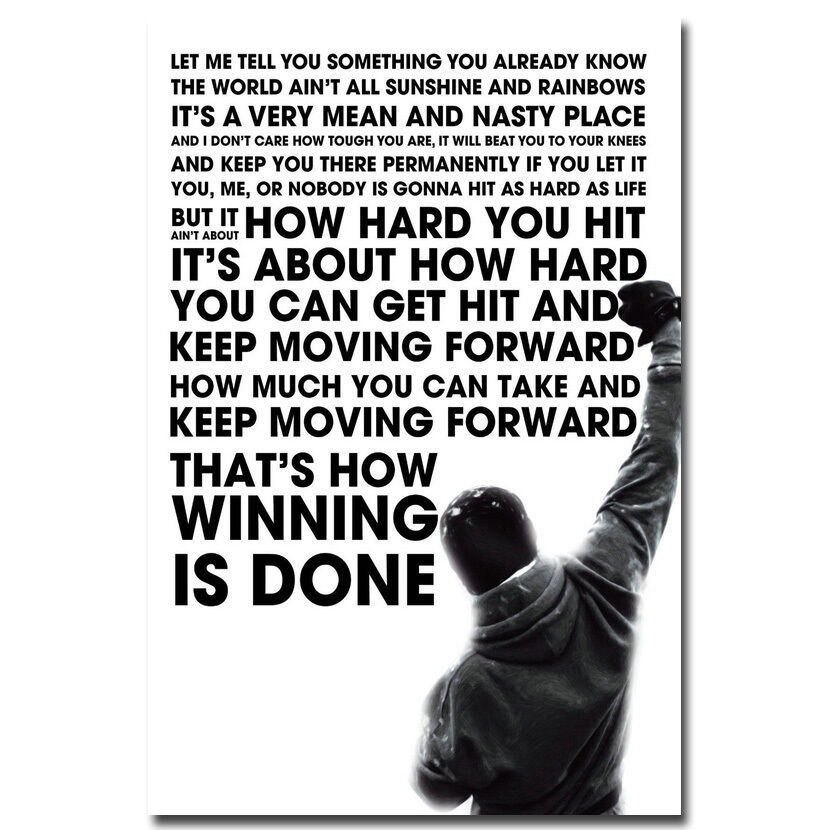 Motivational Inspirational Quotes: Rocky Balboa Inspirational Motivational Movie Quote Poster