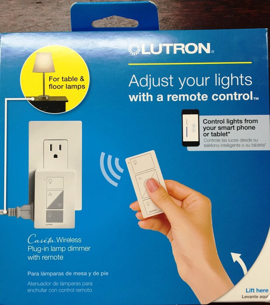 lutron p pkg1p wh caseta wireless plug in lamp dimmer w pico remote control kit ebay. Black Bedroom Furniture Sets. Home Design Ideas