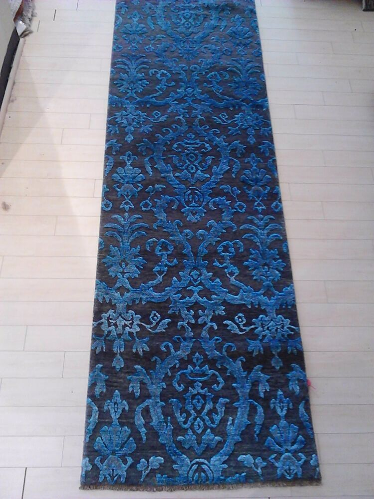 Transitional Silk Wool Tibetan Area Rug Long Runner Hall