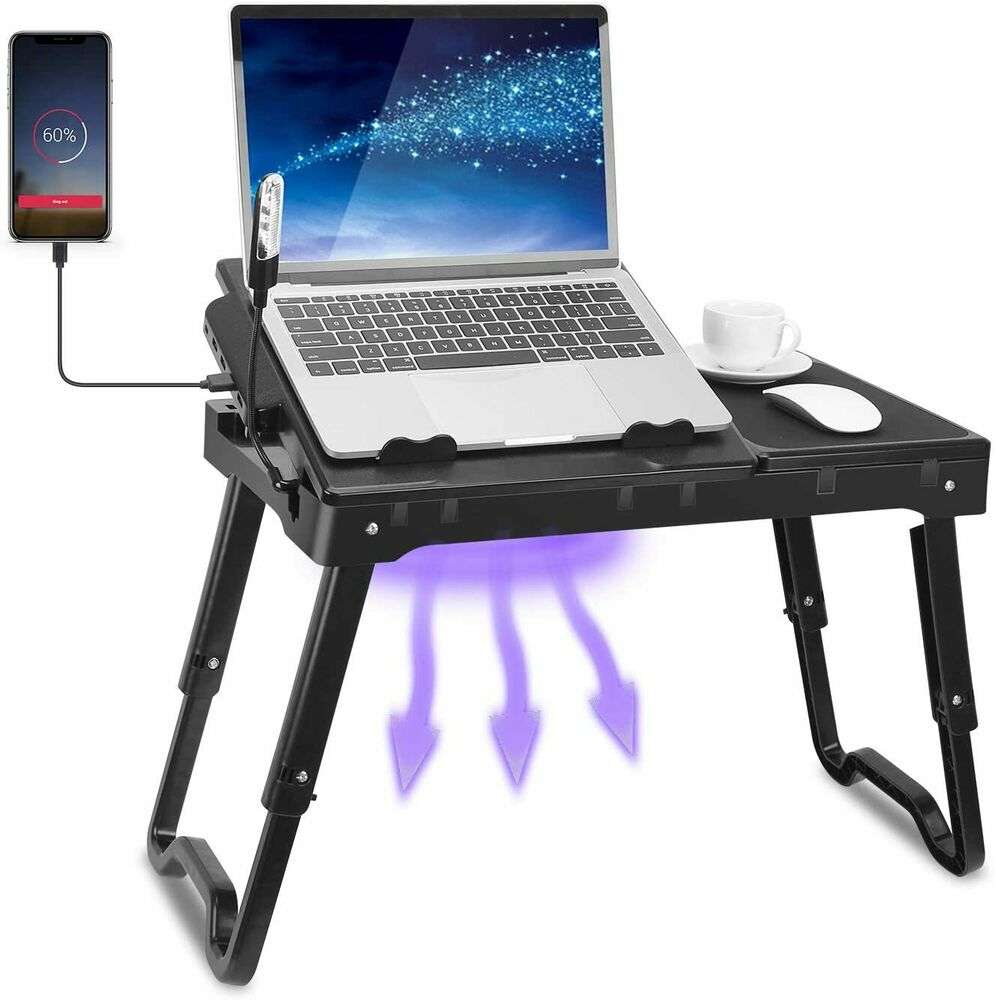 laptop tray for couch foldable laptop table tray desk w cooling fan tablet desk 6781