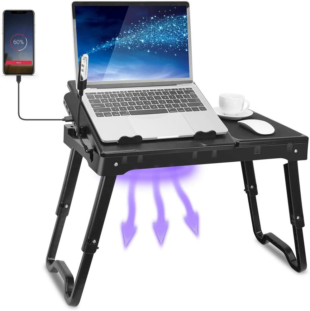Foldable Laptop Table Tray Desk W Cooling Fan Tablet Desk Stand Bed Sofa Couch Ebay