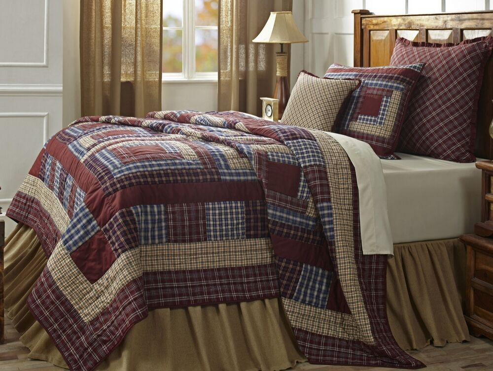 Varsity Plaid Twin Quilt Set Red Brown Country Cabin