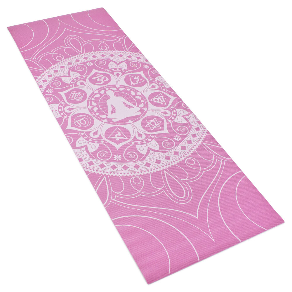 Pink Printed Design Yoga Mat With Poses Printed On One