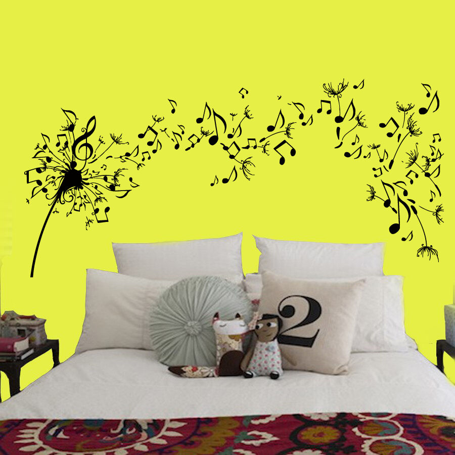 Dandelion Wall Decals Flower Music Notes Vinyl Decal Sticker Bedroom Decor Kk135 Ebay