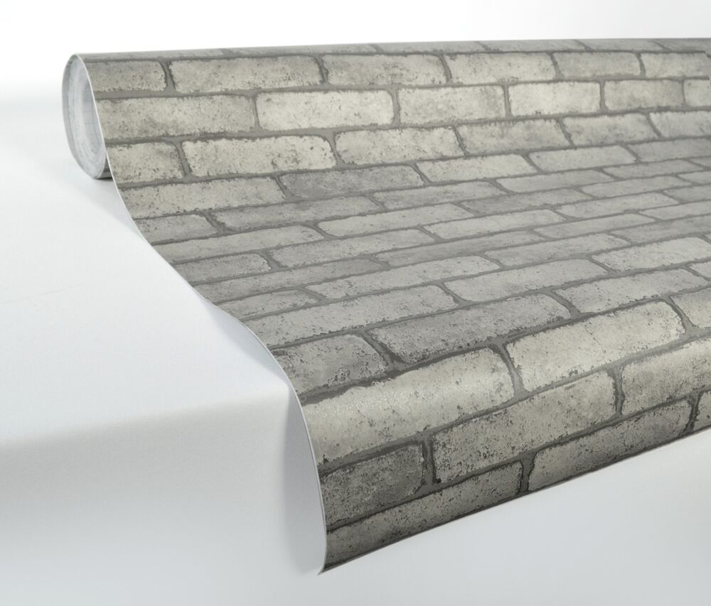 Laminated Vinyl Wallcovering ~ Ft quot stacked brick stone wallpaper vinyl