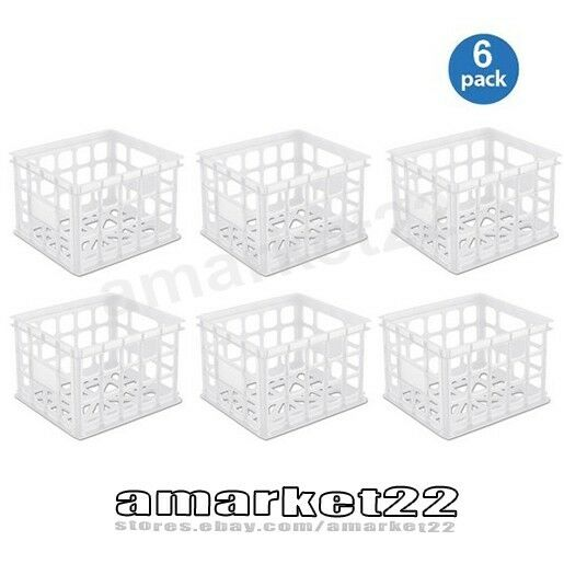 Set Of 6 Plastic Stackable Storage Crate Sterilite Box