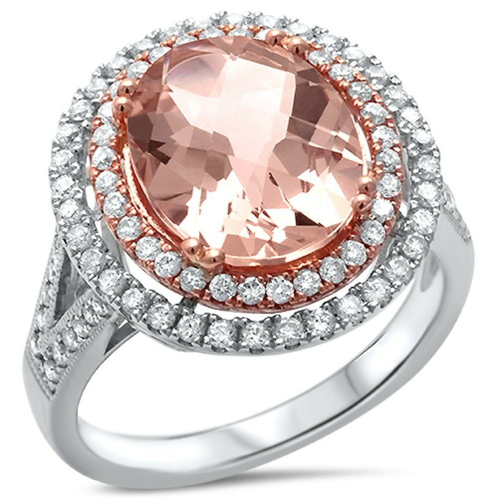 e vs oval morganite double halo diamond engagement ring size 6 5 ebay. Black Bedroom Furniture Sets. Home Design Ideas