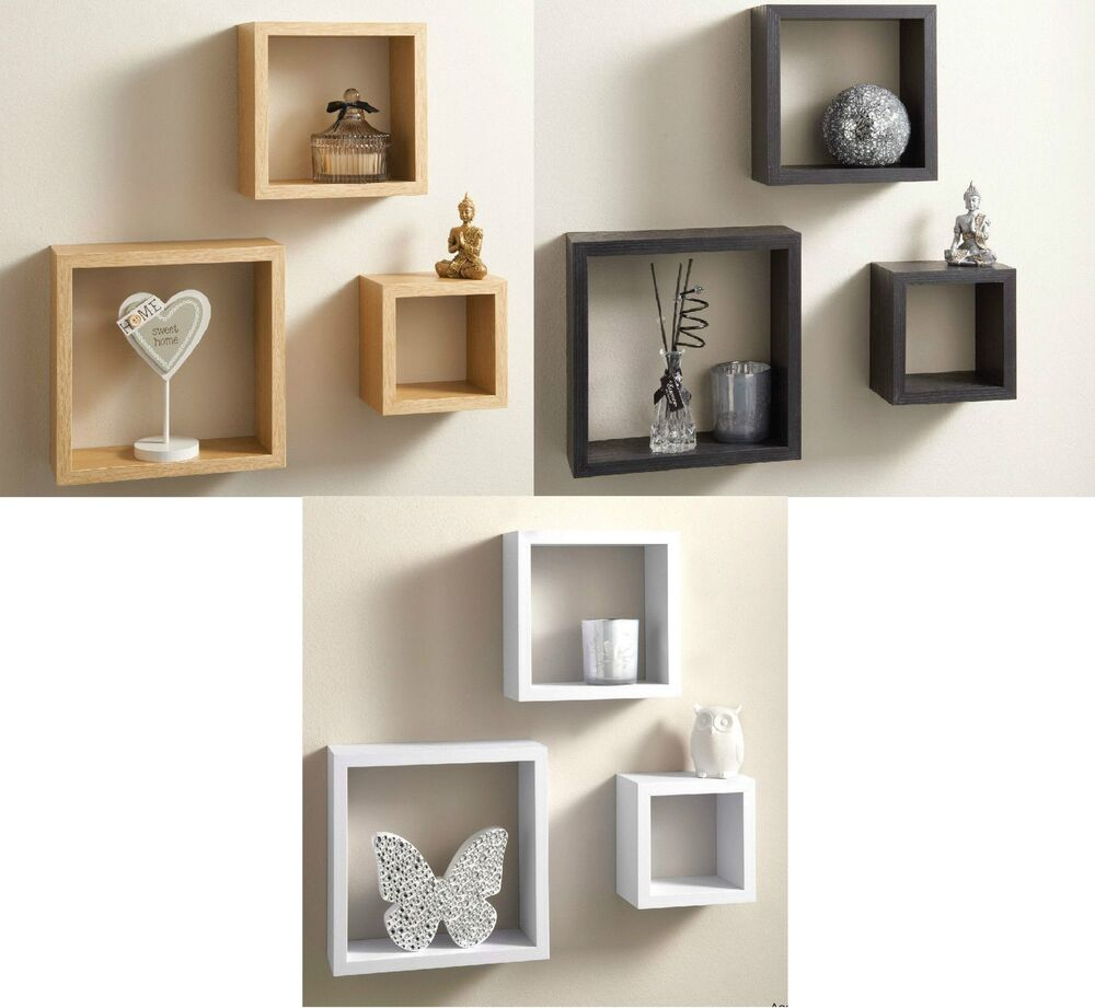 Modern set of 3 floating wall shelves cube shelf in white Modern floating wall shelves