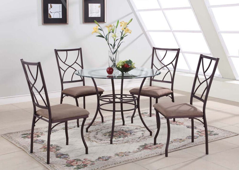5 PC Set Round Glass & Metal Dining Room Kitchen Dinette