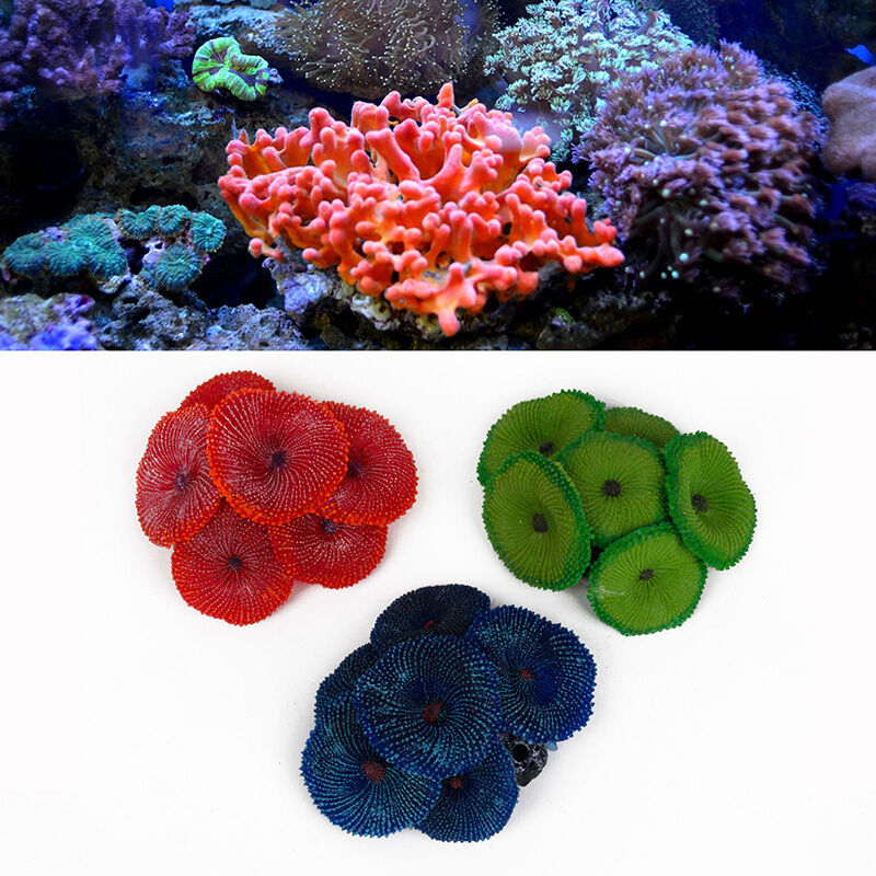 Soft artificial coral plant fake disc ornament decoration for Fish tank coral decorations