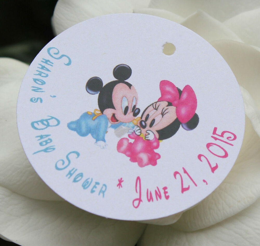 10 baby mickey mouse and minnie mouse baby shower favor tags text