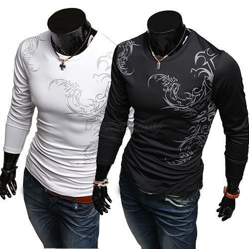Fashion mens slim fit round neck long sleeve tattoo print for Tattoo shirts long sleeve