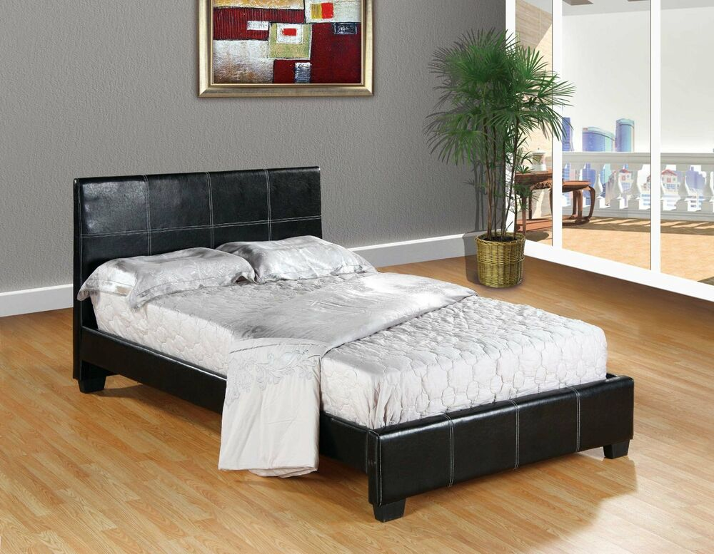 black faux leather queen size platform bed frame slats modern home bedroom new ebay. Black Bedroom Furniture Sets. Home Design Ideas
