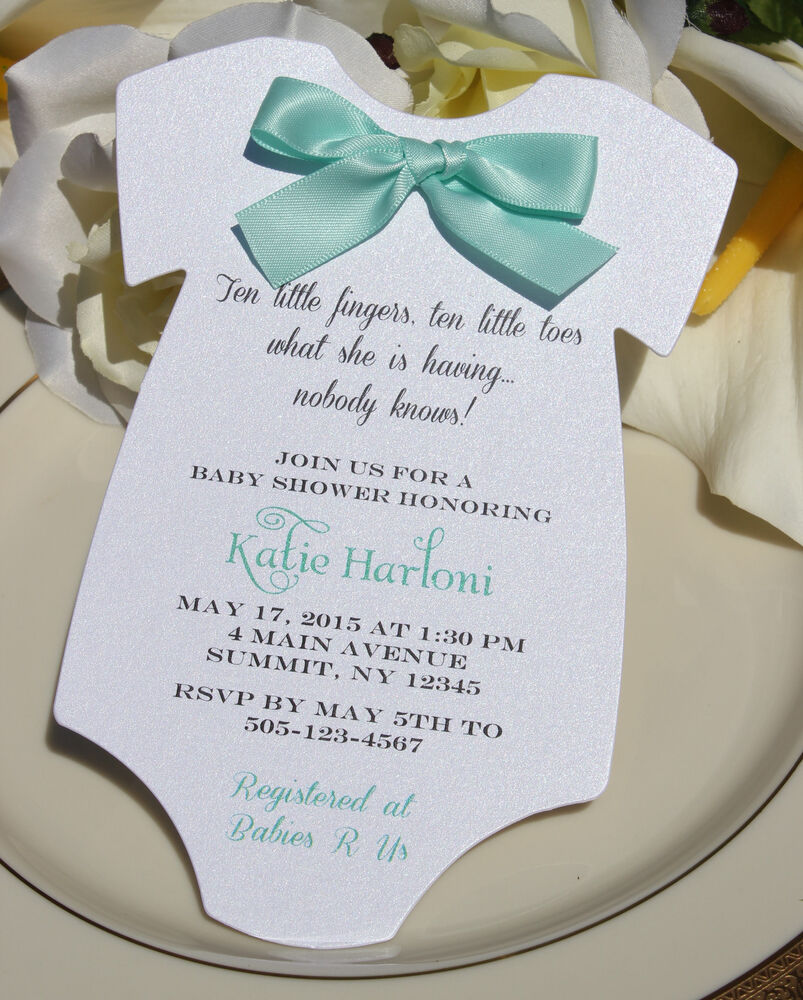 baby shower invitation for boy or girlwith aqua satin bow