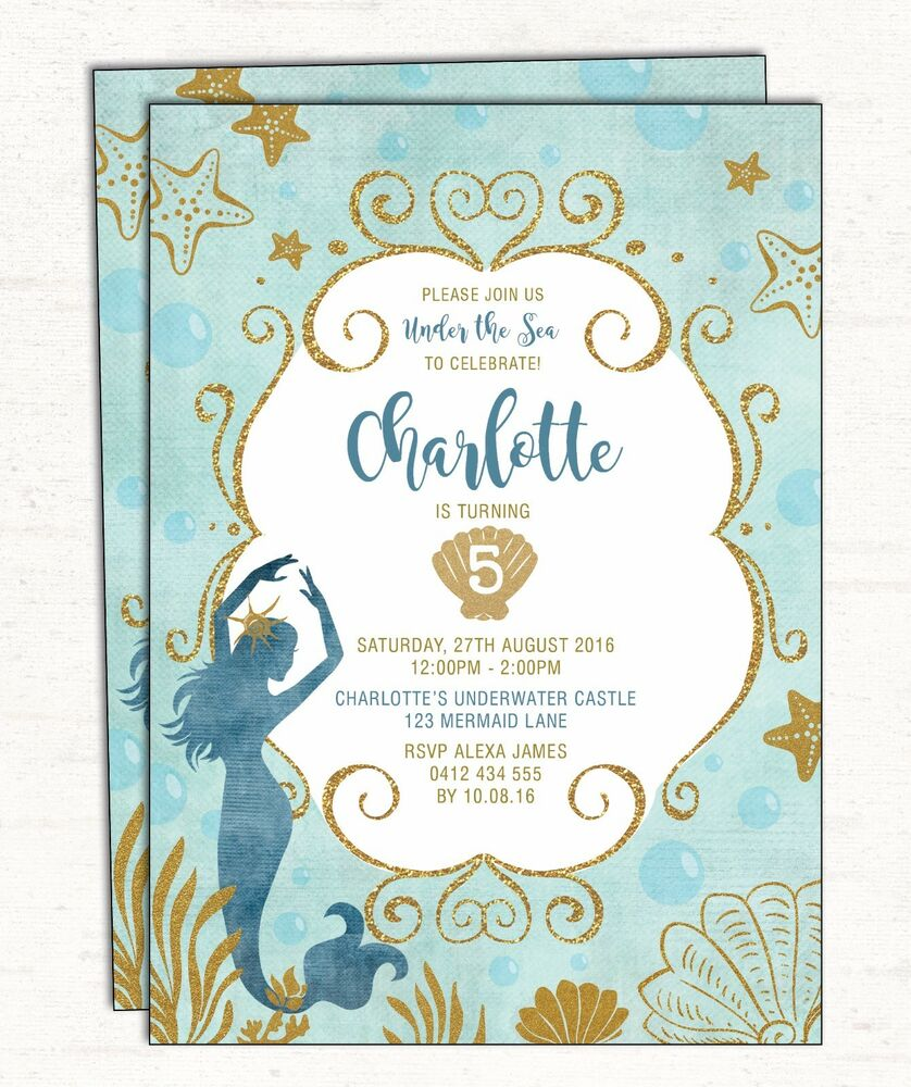Details About Little Mermaid Birthday Invitation Under The Sea Party Invite Teal Gold Starfish