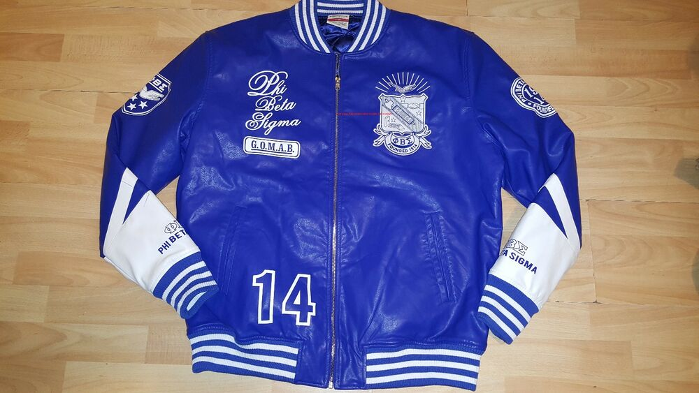 phi beta sigma leather fraternity jacket blue phi beta