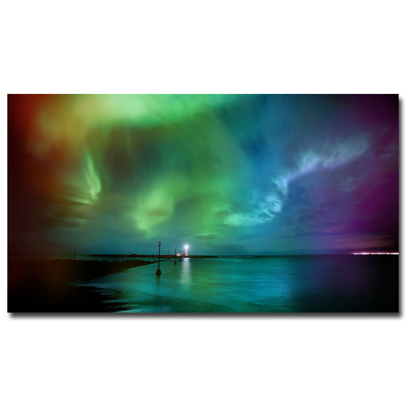 Northern Lights Fabric : Iceland northern lights nature silk fabric poster