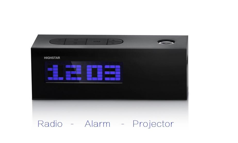 lcd digital alarm clock time date temperature fm radio projector birthday gift ebay. Black Bedroom Furniture Sets. Home Design Ideas