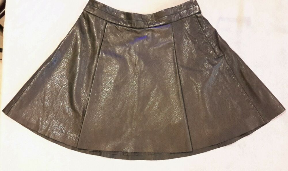 womens h m black leather skirt size 8 a line above knee ebay