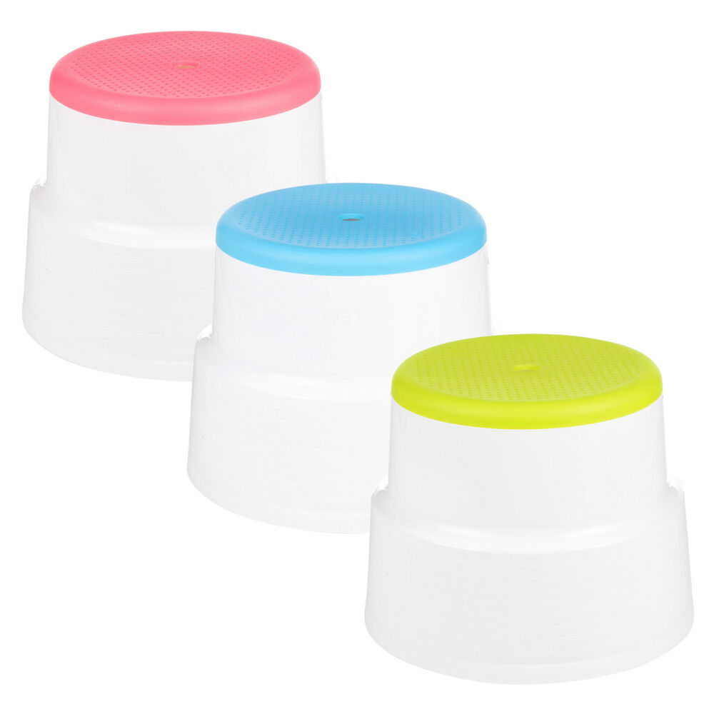 Round Multi Purpose Sturdy Plastic Step Up Stool Home