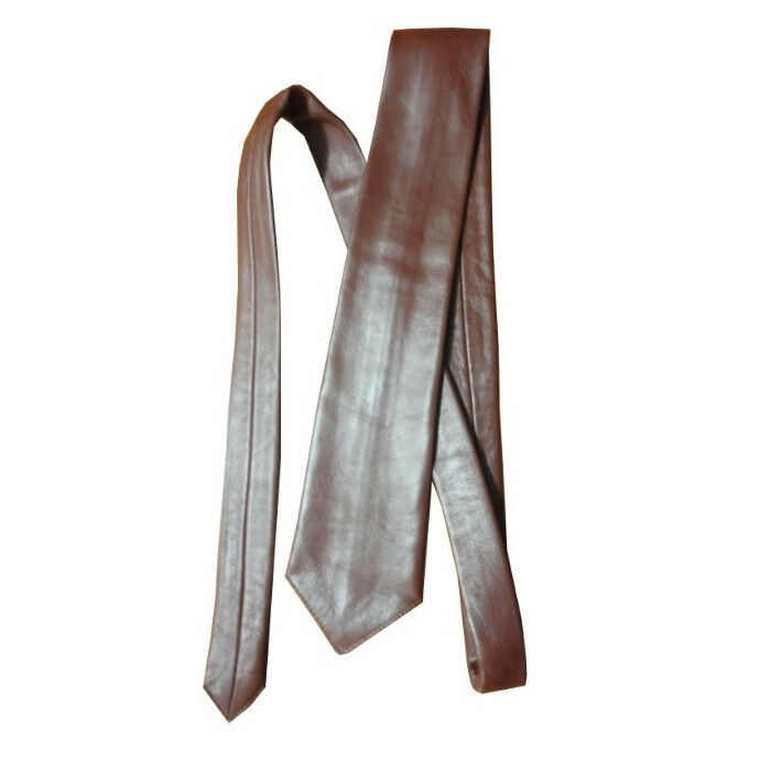 mens brown genuine leather neck tie brand new ebay