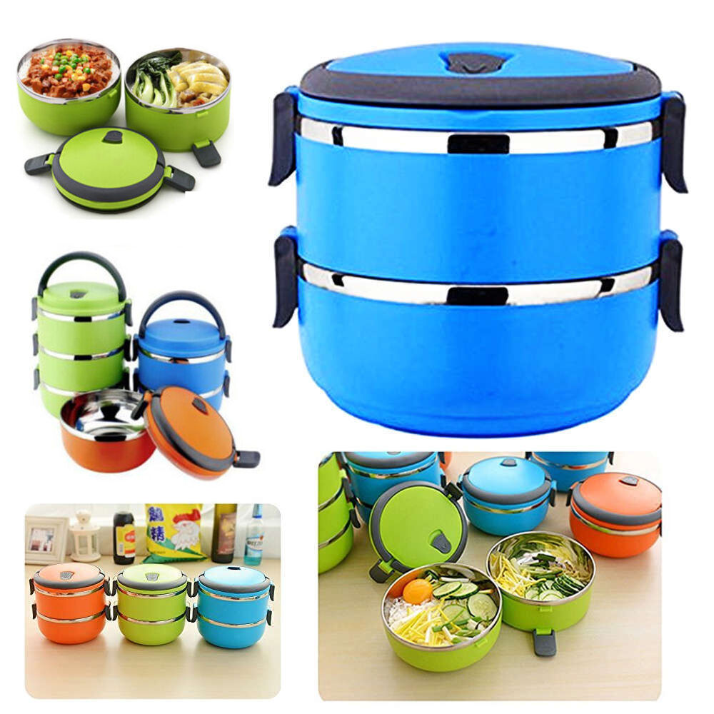 1 4layer stainless steel thermal insulated lunch box bento food container han. Black Bedroom Furniture Sets. Home Design Ideas
