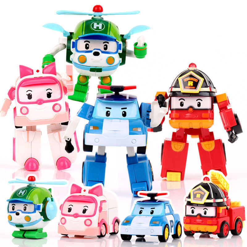 Set of 4 models 5 robocar poli cartoon action figure toy - Robot car polly ...