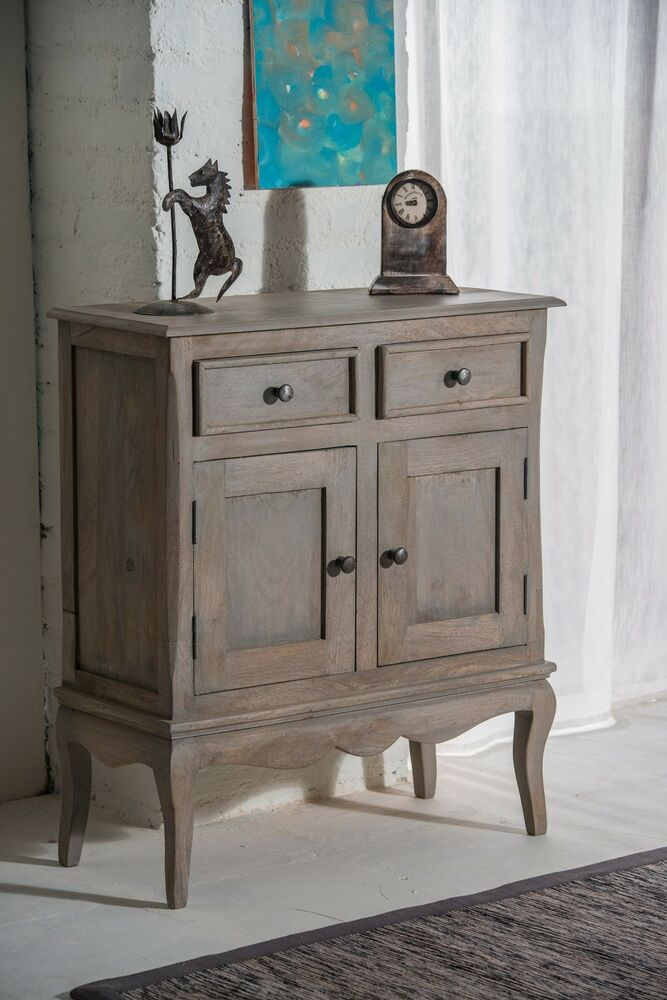 bourdeilles solid mango shabby chic vintage slim sideboard cupboard hall cabinet ebay. Black Bedroom Furniture Sets. Home Design Ideas