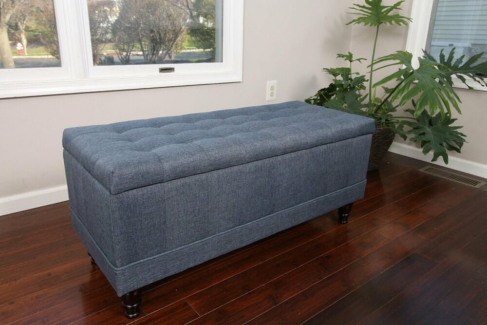 Large Tufted Storage Ottoman Blue Linen Fabric Bench Foot Rest Coffee Table Ebay