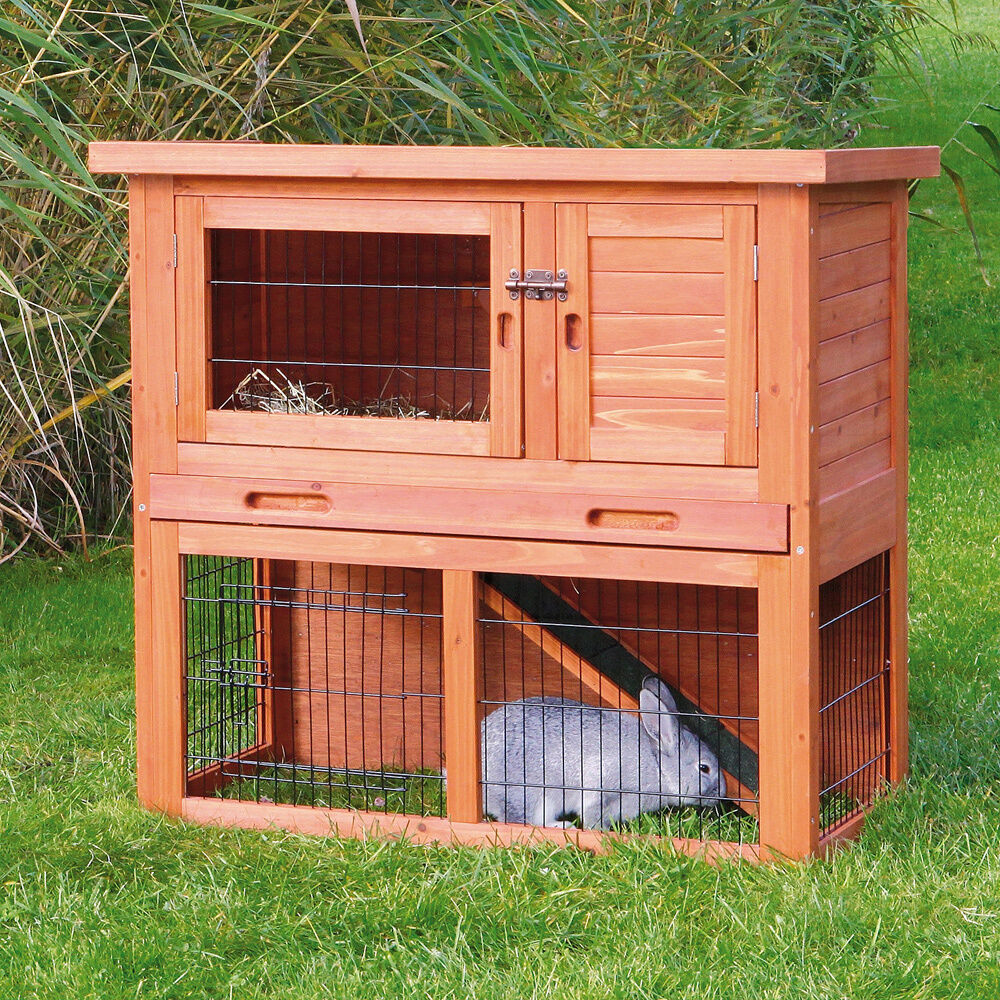Trixie glazed pine sloped roof rabbit hutch ebay for What is a rabbit hutch